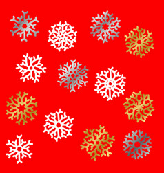 set of snowflakes holiday collection white vector image