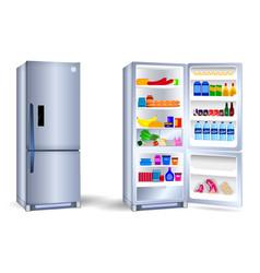 set realistic refrigerator with one door vector image