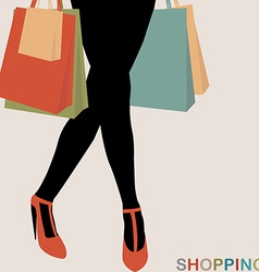 Shopping concept with woman silhouette carrying vector image