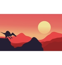 Silhouette of spinosaurus with red backgrounds vector
