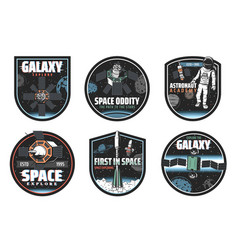 Space and galaxy icons spaceships and astronaut vector