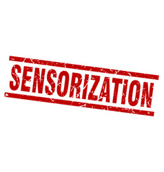 Square grunge red sensorization stamp vector