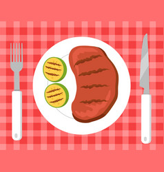 steak and vegetables picnic vector image