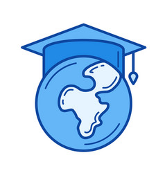 Study abroad line icon vector