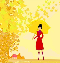 stylish woman with umbrella vector image