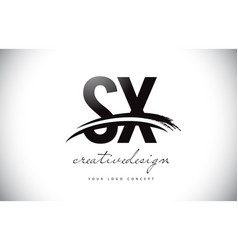 Sx s x letter logo design with swoosh and black vector
