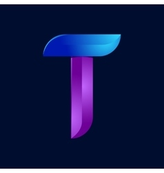 T letter volume blue and purple color logo design vector image
