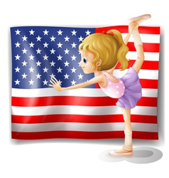 The flag of USA at the back of a dancer vector