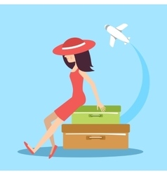 The woman with suitcases vector image vector image