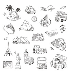 travel sketches icons set vector image