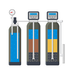 Water filtration system flat vector