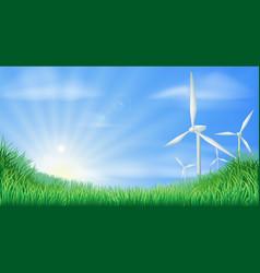wind turbines landscape vector image
