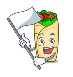 with flag burrito mascot cartoon style vector image