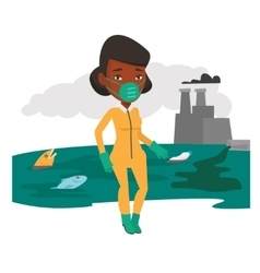 Woman in radiation protective suit vector