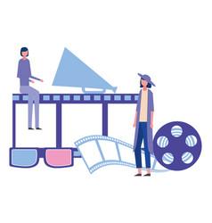 Women megaphone reel strip production movie film vector