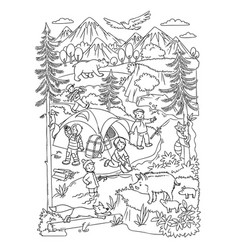 Young hikers or tourists in the wild coloring book vector