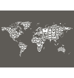 Butterfly world map vector image