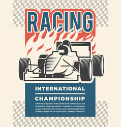 poster or placard for motosport vintage vector image
