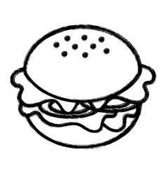 Silhouette fast food hamburger meal vector