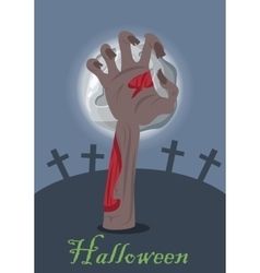 Zombie hand appears from grave with stone vector image