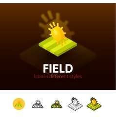 Field icon in different style vector image