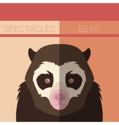 Flat postcard with Spectacled Bear vector image