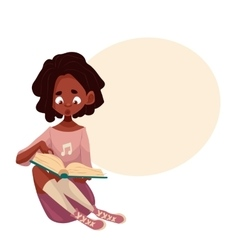 Little African American girl sitting and reading a vector image