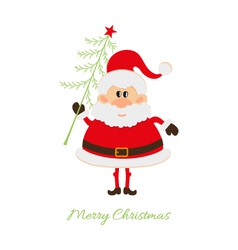 Santa claus with christmas tree vector