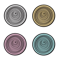 Set of 4 spirals colorful vector image