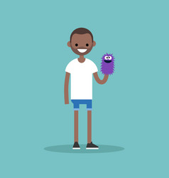 young character playing with a hand puppet flat vector image