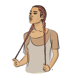 a girl with long pale pink hair braided in braids vector image vector image