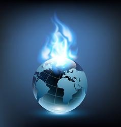 blue flame and planet earth vector image