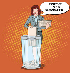 Pop art business woman shredding paper documents vector