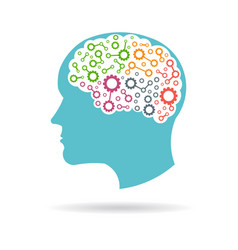 brain with gears working inside logo vector image vector image