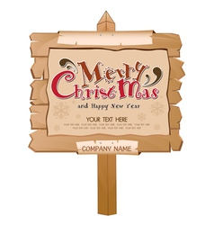 Christmas Happy New Year Wood Background vector image