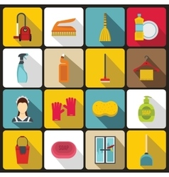 House cleaning icons set flat style vector image