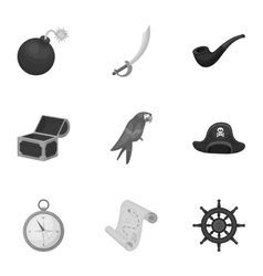 Pirates set icons in monochrome style Big vector image