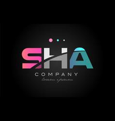 Sha s h a three letter logo icon design vector