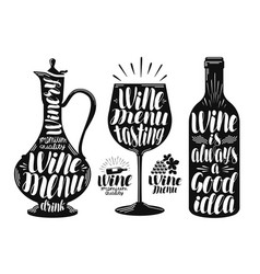 Wine winery label set decanter drink glass vector