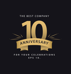 10 year anniversary template design k vector