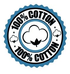 100 cotton label or sticker vector