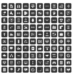 100 interface icons set black vector