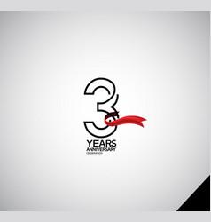 3 years anniversary logotype simple design vector