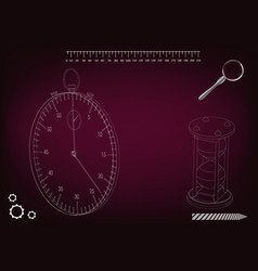 3d model of a stopwatch and an hourglass vector