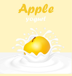 A splash of yogurt from a falling apple and a drop vector