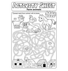 Activity sheet farm animals 1 vector