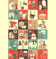 advent calendar with christmas decoration and vector image