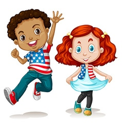 American boy and girl greeting vector