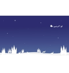 At nigh santa sleigh of silhouette Chrismas vector