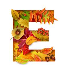 Autumn stylized alphabet letter e vector